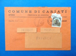 COMUNI D'ITALIA BUSTA DEL 1981 COMUNE DI CARIATI COSENZA - 1946-.. République
