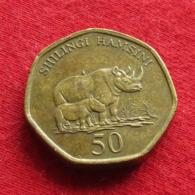 Tanzânia 50 Shilingi 1996 KM# 33 Rhino Tanzanie - Tanzania