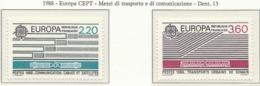 PIA  -  FRANCIA  -  1988  : Europa- Trasporti E Comunicazioni  (Yv  2531-32) - Europa-CEPT