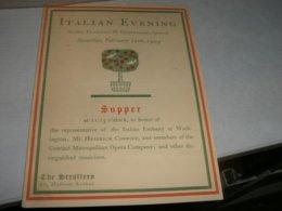 MENU' E PROGRAMMA 1904 ITALIAN EVENING THE STROLLERS MADISON AVENUE - Menu
