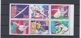 Sweden 1993 Different Sport Championships Table Tennis, Ski, Handball, Wrestling 6 Stamps Printed Together - Timbres