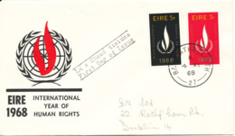 Ireland FDC 4-11-1968 International Year Of Human Rights Complete Set Of 2 With Cachet - FDC