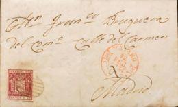 España. Cataluña. Historia Postal. Sobre 24. 1854. 6 Cuartos Carmín. MATARO A MADRID. En El Frente Baeza MATARO / CATALU - Ohne Zuordnung