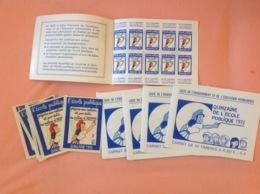 École Publique 1972, 5 Carnets 10 Timbres 0,5f, 5 Autocollants à 1F - Other