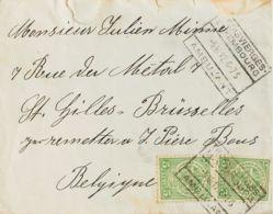 Luxemburgo. Sobre Yv 92(2). 1912. 5 Cts Verde, Dos Sellos. TROIS VIERGES A BRUSELAS (BELGICA). Matasello TROIS VIERGES / - Sin Clasificación