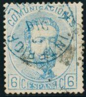 España. Amadeo I. º119. 1872. 6 Cts Azul. Matasello INTERIOR / 4 DE LA TARDE, En Azul. MAGNIFICO. - 1872-73 Reino: Amadeo I