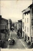 Cp Cours Rhône, Rue Gambetta, Straßenpartie, Rinderfuhrwerk - Francia