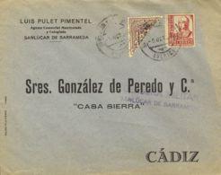 España. Andalucía. Historia Postal. Andalucía. Historia Postal. SAN LUCAR DE BARRAMEDA / (CADIZ), Al Dorso Llegada. MAGN - Espagne