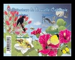 New Caledonia 2018 Mih. 1761/64 (Bl.56) Fauna. Pollinators. Birds. Butterflies. Bees. Bats MNH ** - Unused Stamps