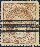 España. Falso Postal. º109F. 1870. 200 Mils Castaño. FALSO POSTAL TIPO II, Barrado. MAGNIFICO. - Non Classificati