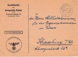 Env Frei Durch Ablôsung Reich Obl KOLMAR (ELS) Du 20.10.41 Adressée à Strassburg - Postmark Collection (Covers)