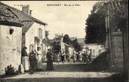 Cp Soncourt Haute Marne, Rue De La Place - Frankreich