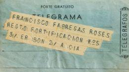 España. Telegramas. Sobre . 1939. Telegrama De EL MASNOU A MELILLA. MAGNIFICO. - Télégraphe