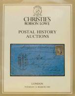 Bibliografía Mundial. 1989. Catálogo De Subasta De POSTAL HISTORY AUCTIONS, Celebrada El 21 De Marzo De 1989. Christie's - Literatura