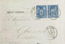 Francia. Sobre Yv 79(2). 1878. 25 Cts Azul, Pareja. LYON A COSNE. Matasello GARE-DE-LYON / (68). MAGNIFICA. - Ohne Zuordnung
