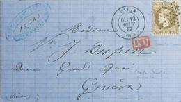 Francia. Sobre Yv 30. 1872. 30 Cts Castaño. PARIS A GINEBRA (SUIZA). Matasello ESTRELLA DE PUNTOS. MAGNIFICA. - Sin Clasificación