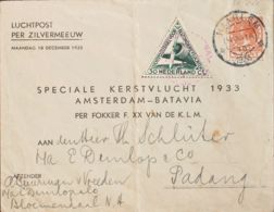 Holanda. Sobre Yv 139, Aéreo 10. 1933. 6 Cts Naranja Y 30 Cts Verde. HAAREM A PADANG (INDONESIA). Vuelo Especial AMSTERD - Holanda