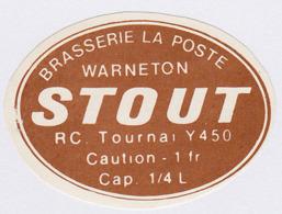 ETIQUETTE BIERE STOUT / BR. LA POSTE / WARNETON - Beer