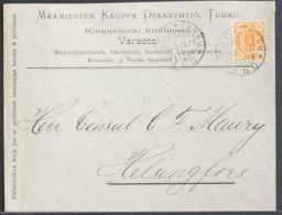 Finlandia. Sobre Yv 31. 1900. 20 P Naranja. TURKU A HELSINKI. MAGNIFICA. - Finlandia