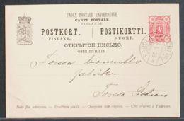 Finlandia, Entero Postal. Sobre Yv . 1899. 10 P Rosa Sobre Tarjeta Entero Postal De PAROLA A FORSSA. Matasello PAROLA / - Finlandia