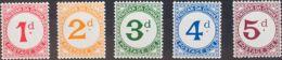 Tristán Da Cunha, Tasas. MNH **Yv 1/5. 1957. Serie Completa. MAGNIFICA. Yvert 2010: 35 Euros. - Tristan Da Cunha