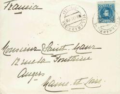 España. Andalucía. Historia Postal. Sobre 248. 1908. 25 Cts Azul. VILLAMANRIQUE A ANGERS (FRANCIA). Matasello VILLAMANRI - Spain