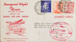 España. 2º Centenario Correo Aéreo. Sobre 1074, 1054, 1058. 1954. 20 Cts Violeta, 60 Cts Naranja Y 4 Pts Rosa. MADRID A - Aéreo