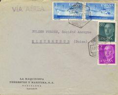 España. 2º Centenario Correo Aéreo. Sobre 1191(2), 1152, 1158. 1956. 80 Cts, 2 Pts Y 3 Pts, Dos Sellos. Carta Aérea De B - Aéreo
