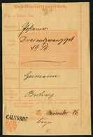 BRAUNSCHWEIG 1886, POSTEINLIEFERUNGSSCHEIN MIT STPL-L1 CALVÖRDE - Brunswick
