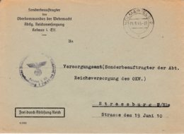 Env Frei Durch Ablôsung Reich Obl KOLMAR (ELS) 2 Du 04.8.43 Adressée à Strassburg - Postmark Collection (Covers)