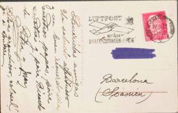Alemania. Sobre Yv 405. 1932. 15 P Rojo Carmín. Tarjeta Postal De BERLIN A BARCELONA. En El Frente Marca LUFTPOST / BEFO - [1] ...-1849 Precursores