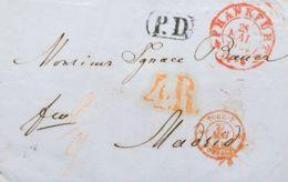 """Alemania. Sobre Yv . 1854. FRANKFURT A MADRID. Fechador De Entrada En Francia TOUR-T / FORBACH, En Rojo Y Porte """"4 R"""" (r - [1] ...-1849 Precursores"""