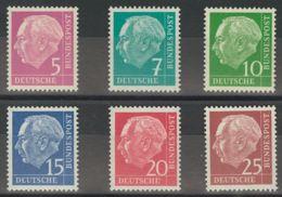 Alemania Occidental. MNH **Yv 65A/69A. 1953. Seis Valores, PAPEL FOSFORESCENTE. MAGNIFICOS. Yvert 2014: 54 Euros. - [1] ...-1849 Precursores