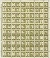 Alemania Occidental. MNH **Yv . 1961. 5 P Verde Oliva, Pliego Completo De Cien Sellos Con Las Combinaciones TETE BECHE. - [1] ...-1849 Precursores