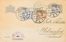 Holanda, Entero Postal. Sobre Yv 67, 68. 1909. 1 ½ Cts Lila Sobre Tarjeta Entero Postal De APELDOORN A HELSINKI (FINLAND - Holanda