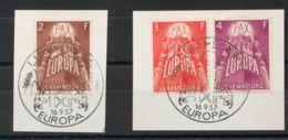 Luxemburgo. Fragmento Yv 531/33. 1956. Serie Completa, Sobre Fragmentos. MAGNIFICA. Yvert 2015: 50 Euros. - Sin Clasificación