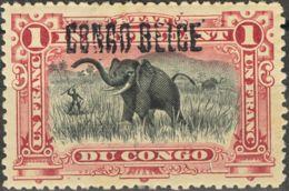 Congo Belga. MH *Yv 36A. 1908. 1 Fr Carmín. SOBRECARGA A MANO. MAGNIFICO. Yvert 2013: 60 Euros. - Congo - Brazzaville