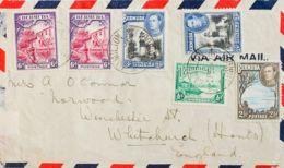 Bermudas. Sobre Yv 92, 98(2), 109, 111(2). 1942. ½ P, 6 P, Dos Sellos, 2 ½ P Y 3 P, Dos Sellos. HAMILTON (BERMUDA) A WHI - Bermudas
