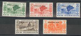 Nuevas Hébridas, Tasas. MNH **Yv 31/35. 1953. Serie Completa. MAGNIFICA. (SGD11/15 29£) Yvert 2013: 41 Euros. - Nueva Hebrides