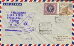 España. 2º Centenario Correo Aéreo. 40º Aniv. BCN - MADRID. MAGNIFICA. - Aéreo