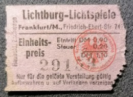 Old Small Ticket Lichtburg - Lichtspiele CINEMA  1950's / 60's Cinema Kino Frankfurt Am Main Germany - Tickets - Entradas