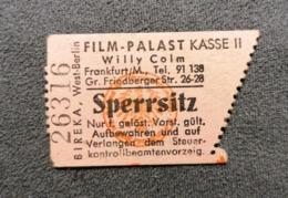 Old Small Ticket FILM - PALAST Willy Colm  1950's / 60's Cinema Kino Frankfurt Am Main Germany - Tickets - Entradas