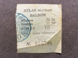 Old Small Ticket ATLAS SINEMASI Cinema 1950's / 60's Cinema Kino - Tickets - Entradas