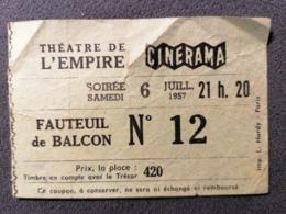 Old Small Ticket THEATRE L'EMPIRE CINERAMA Cinema 1950's / 60's Balkon Cinema Kino Paris - Tickets - Entradas