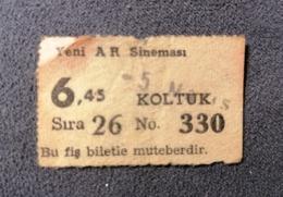 Old Small Ticket YENY AR SINEMASI Cinema 1950's / 60's Koltuk Kino - Tickets - Entradas