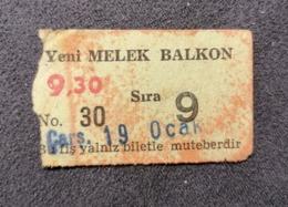 Old Small Ticket YENY MELEK Balcon Cinema 1950's / 60's Kino - Tickets - Entradas
