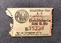 Old Small Ticket AKTUALITAETEN - KINO Frankfurt Am Main Germany  Cinema 1950's / 60's Kino - Tickets - Entradas