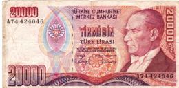 "TURKEY 20000 LIRA 1970 (1988) F P-201 ""free Shipping Via Regular Air Mail (buyer Risk) - Turkije"