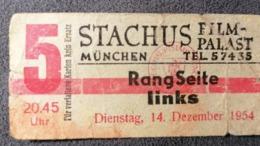 Old Small Ticket STACHUS FILM PALAST - KINO MUNCHEN Germany  Cinema 1950's / 60's Kino - Tickets - Entradas