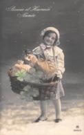 Carte CPA Fantaisie - Jolie Petite Fille Fillette Avec Panier Porte Bonheur Trèfle - Bonne Année 1913 - Abbildungen
